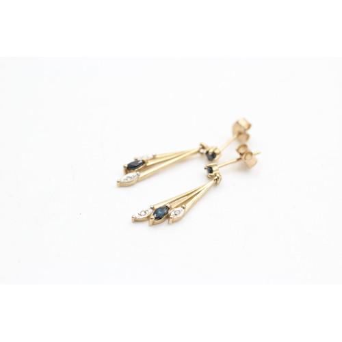 109 - 9ct gold vintage sapphire & diamond fan drop earrings (1.5g)