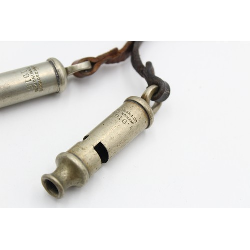 116 - 2 x WW1 Officers Hudson WHISTLES Dated 1915 + 1916 WORKING