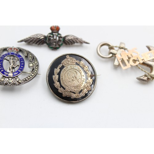 163 - 4 x Vintage Stamped .925 STERLING SILVER Military Brooches Inc RAF, Royal Corps
