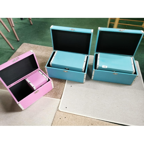 12 - Three Sets Of Graduated Boxes By Leaf, Two Complete With Four Boxes In Each & One Pink Incomplete On...