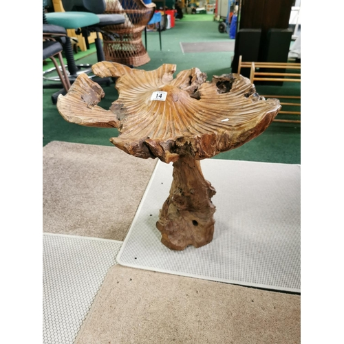 14 - Piece Of Root Wood Made Into A Toadstool 52cm High By 53cm Wide
