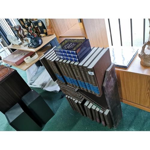 16 - Comprehensive Complete 1990 Britannica Book Set, Also Inc Oxford English Poetry Set & Book Shelf