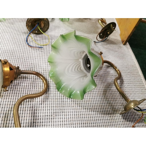 17 - Set Of Six Vintage French Brass Wall Lights With Good Green Glass Shades