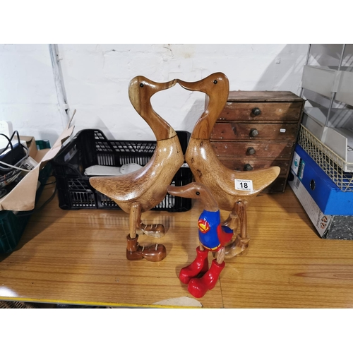 18 - Solid Wood Figure Of Kissing Ducks & Superman Duck (One Leg Needs Attention)