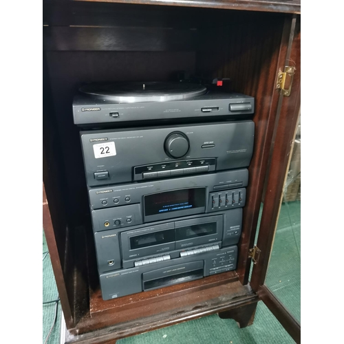 22 - Pioneer Hifi Sound System Inc Cd Tape Tuner Receiver And Turntable With Matching Speakers And Cabina...