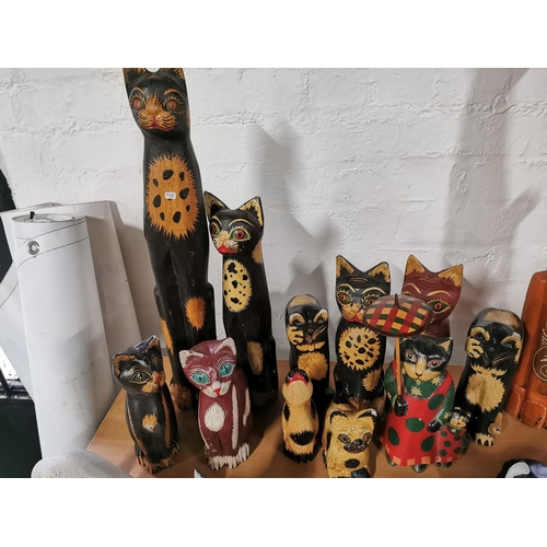23 - Large Collection Of Mostly Wooden Cat Figures