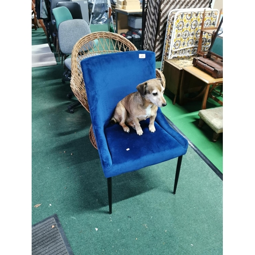 28 - Blue Velor Upholstered Chair On Black Metal Stick Legs