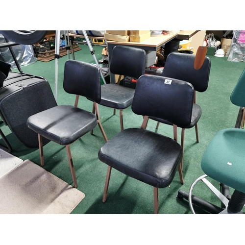 31 - Four Good Vintage Chairs Upholstered In Rexine