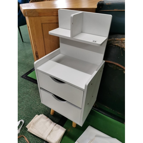 35 - Small White Two Drawer Unit With Two Aprons And Serviette Set 71.5cm High x 33cm Wide