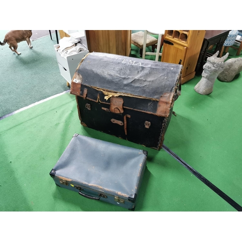 36 - Antique Lined Wicker Steamer Trunk & One Other Vintage Case