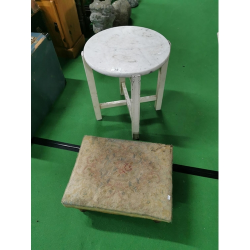 38 - Removable Marble Topped Table & Vintage Upholstered Stool