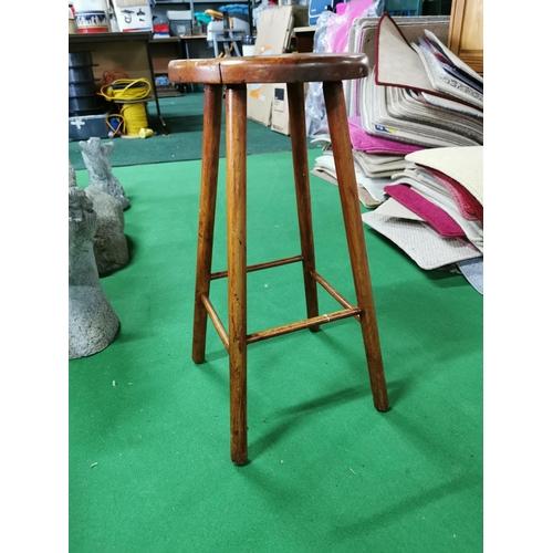 40 - Good Vintage Solid Wood Stool On Stick Legs