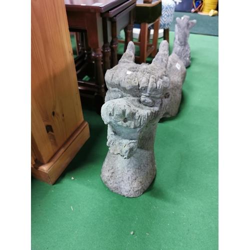 46 - Three Piece Stoneware Loch Ness Garden Ornament Standing 40cm At Highest Point