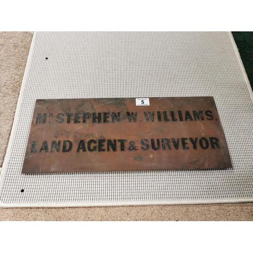 5 - Vintage Solid Copper Engraved Sign