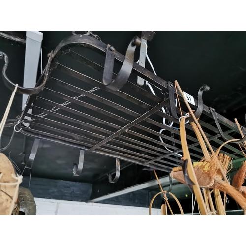 51 - Steel Pan Hanger On Chains 16 Hooks