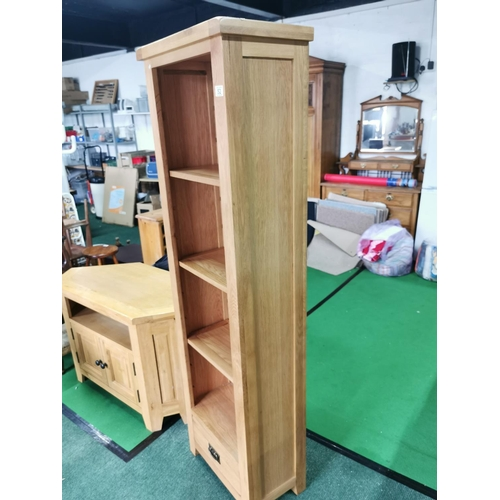 52 - Solid Oak As New Book Case With Adjustable Shelves & Drawer To The Base. 182cm Tall By 56cm Wide By ...