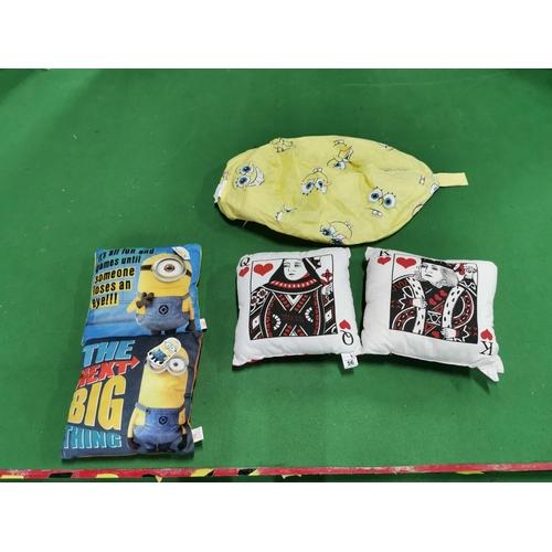 56 - Four As New Novelty Cushions And A Sponge Bob Empty Bean Bag