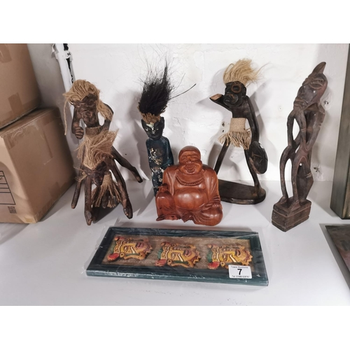 7 - Quantity Of Ethnic Items Inc A solid Wooden Buddah