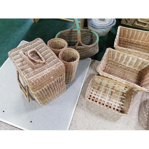 9 - Job Lot Of Wicker Items Inc Wicker Basket & Picnic  Basket With Bottle Holders