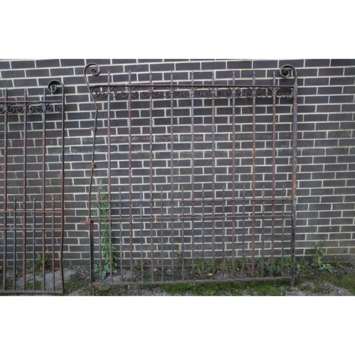 1 - <B>A pair of wrought iron gates, each gate 177cm wide, 193cm high</b></i>...