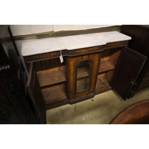 12 - <B>A late Victorian walnut marble top breakfront side cabinet, width 120cm depth 32cm height 84cm</b...