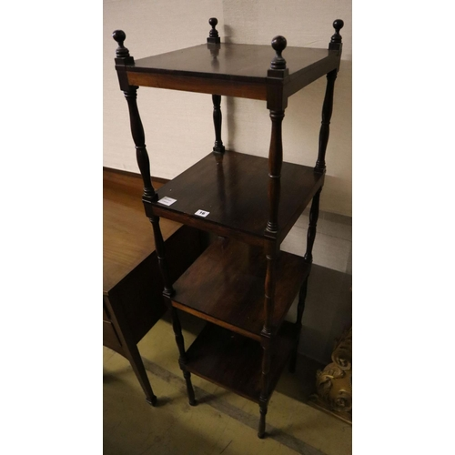 16 - <B>An early Victorian rosewood four tier whatnot, width 38cm depth 38cm height 148cm</b></i>...