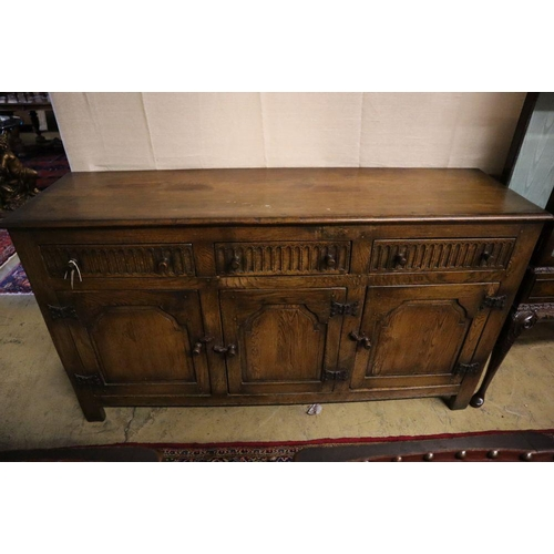 2 - <B>An 18th century-style oak refectory dining table, sideboard and four chairs, table 182 x 79cm hei...
