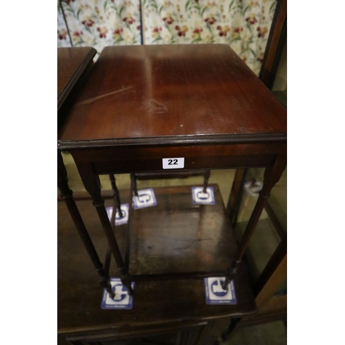 22 - <B>An Edwardian nest of three mahogany tea tables, width 51cm depth 36cm height 61cm</b></i>...