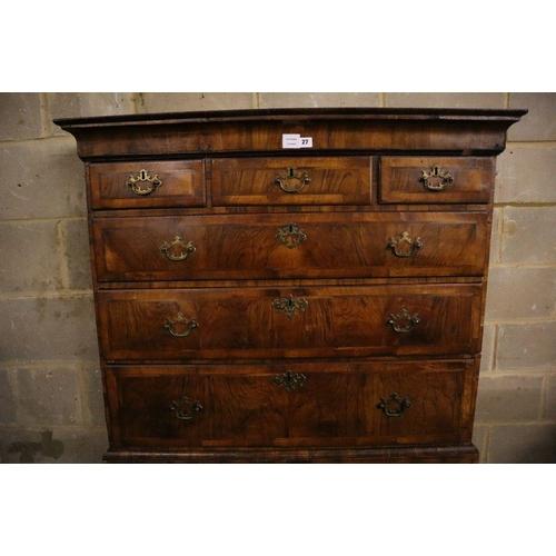 27 - <B>An early 18th century banded walnut tallboy, with oak sides, width 108cm depth 55cm height 180cm<...