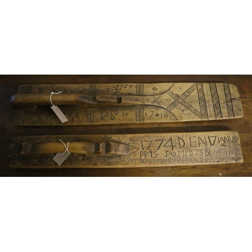 3 - <B>An 18th century Swedish mangle board and another, longest 84cm</b></i>...