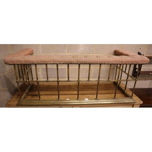 32 - <B>A Victorian brass club fender, width 164cm depth 70cm height 59cm</b></i>...