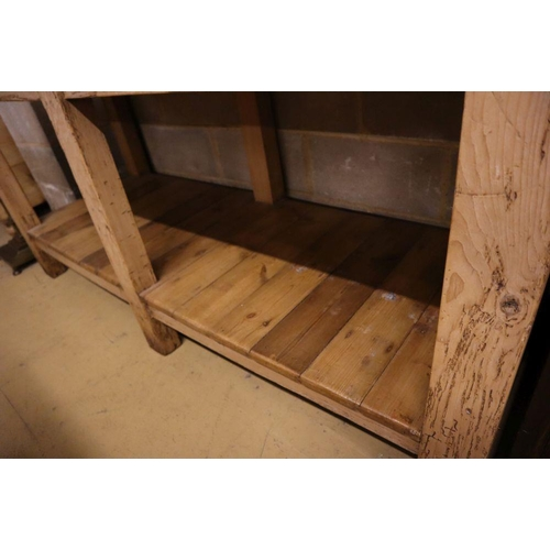 33 - <B>A Victorian beech and pine two tier kitchen table, width 183cm depth 65cm height 87cm</b></i>...