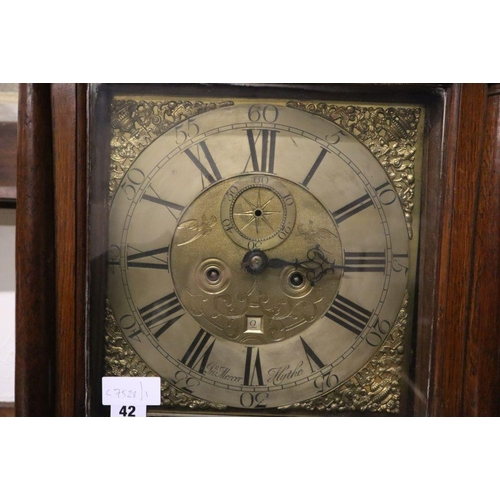 42 - <B>A George III oak eight day longcase clock, brass and silvered dial marked Mercer Hythe, height 21...