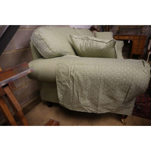 44 - <B>A modern Victorian-style two-seater settee, upholstered in patterned green fabric, width 220cm de...
