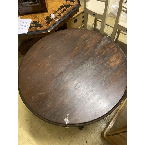 5 - <B>A Regency style circular mahogany breakfast table, 99cm diameter</b></i>...