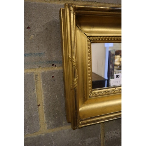 53 - <B>A 19th century small rectangular gilt framed wall mirror, 42 x 35cm</b></i>...
