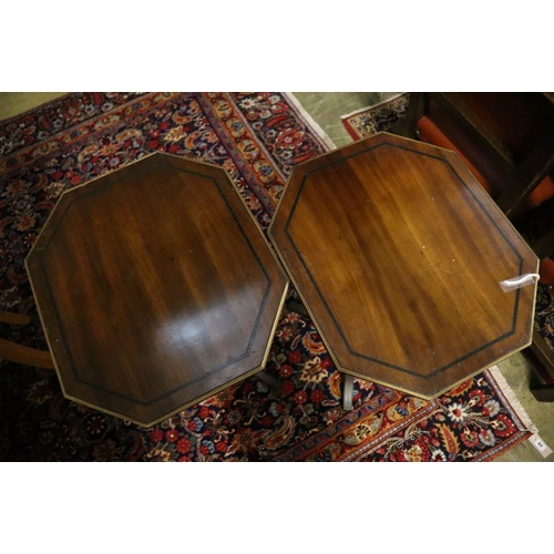 57 - <B>A pair of Regency design octagonal mahogany tripod wine tables, width 45cm, depth 39cm, height 75...