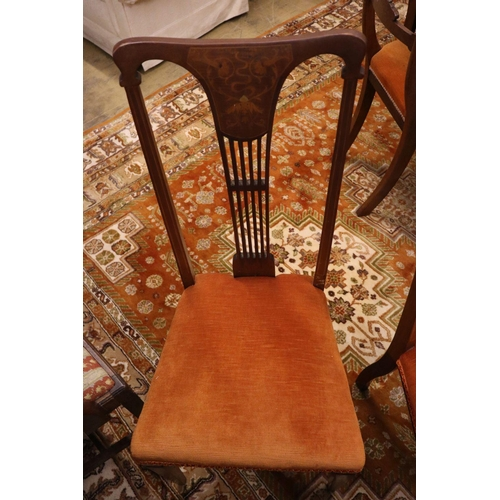 60 - <B>A set of four Hepplewhite style dining chairs (3 single, 1 arm) and four Edwardian dining chairs<...
