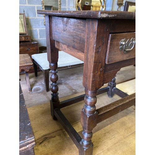 8 - <B>An 18th century and later oak side table, width 66cm, depth 47cm, height 71cm</b></i>...