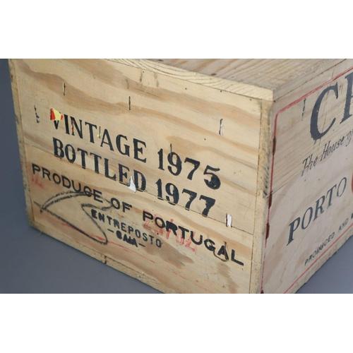 1 - <B>A case of Croft 1975 vintage Port, bottled 1977, original opened wooden crate</b></i> <I>(12 bott...