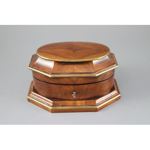 11 - <B>A late 18th century Dutch brass bound kingwood necessaire,</b></i> with gilt brass mounts, the li...