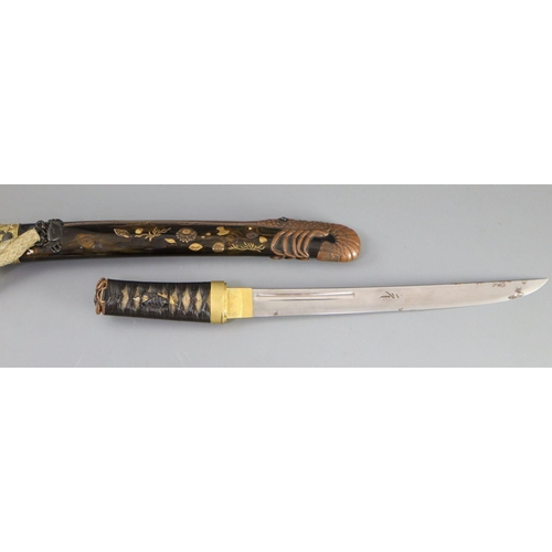 19 - <B>A fine Japanese 'sea creatures' tanto, Meiji period,</b></i> the saya lacquered to simulate wood ...