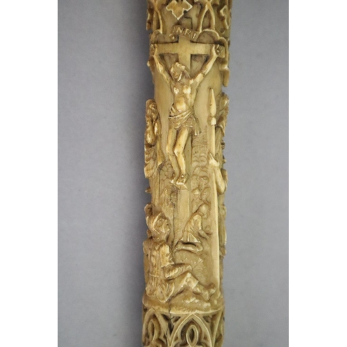 22 - <B>A 19th century Dieppe carved ivory crozier, thought to be a copy of a 13th century example,</b></...
