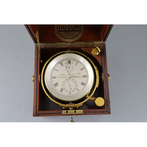 25 - <B>John Morton & Co. of Glasgow. A mahogany cased 2.5 day marine chronometer,</b></i> with brass mou...