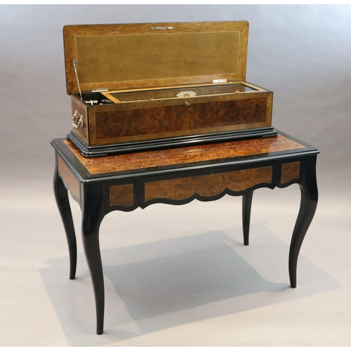 27 - <B>A 19th century Swiss Nicole Freres table musical box,</b></i> with movement playing five intercha...
