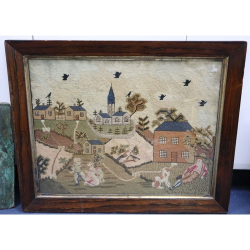 36 - <B>An early 19th century English petit point panel,</b></i> with father, children and dog in a garde...