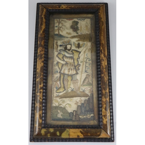 38 - <B>A 17th century English needle and stumpwork panel,</b></i> with central king like figure standing...