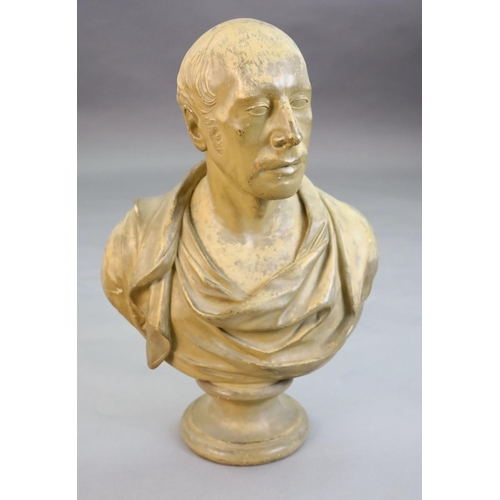 43 - <B>A 19th century painted plaster bust of a Roman Emperor,</b></i> inscribed Pub'd by J. Mazzotti, A...