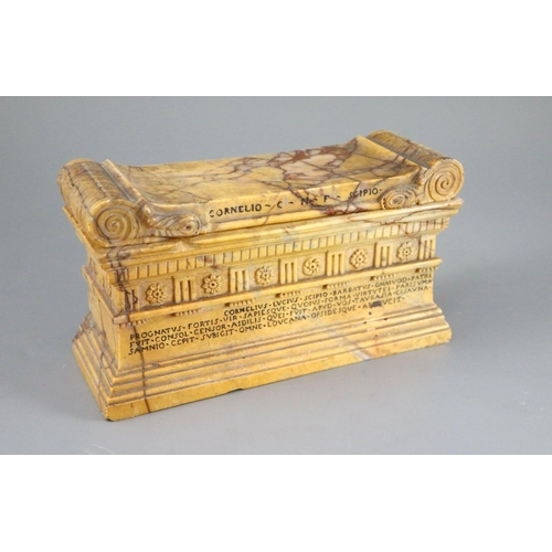 45 - <B>A Grand Tour Sienna marble model of The Tomb of Cornelius Lucius,</b></i> with removeable lid, <I...