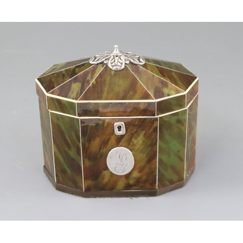46 - <B>A George III silver mounted green stained tortoiseshell and ivory tea caddy,</b></i> of decagonal...